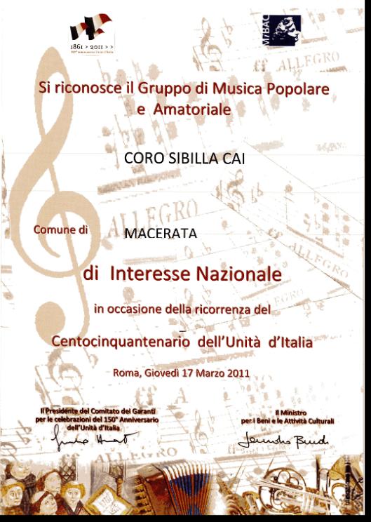 Coro Sibilla, coro di interesse nazionale